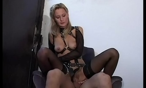 Bondage and sado maso have a passion for a slutty blonde veld leather