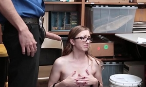 Cute And Nerdy Teen Shoplifter Gracie May Green Fucked By Security Victor For Stealing A Backpack
