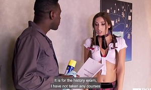 PORNO ACADEMIE - French Clea Gaultier anal fucked in hot interracial threesome