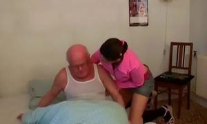 Showing old guy a juvenile cunt