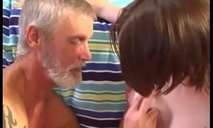 Teen feeds Derogatory Pop her TITTY MILK