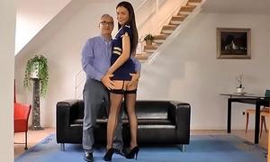 Young UK stewardess juggles on oldmans cock