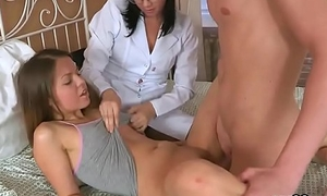 Man assists with hymen check-up and riding of virgin chick