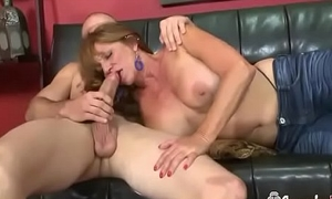 Horny Granny With Lovely Special Acquires Creampied By Huge Young Cock
