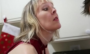 Mature cougar has the brush way while dad'_s away
