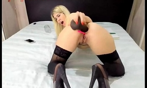 Blonde Girl Destory'_s her ass with a Chunky Black Dildo