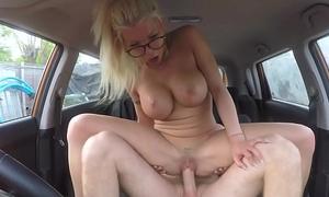 Couple banging regarding fake driving school car