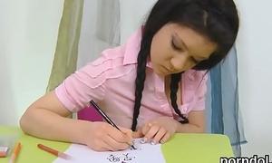 Erotic schoolgirl was seduced and reamed by her older teacher