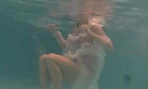 White moth in a dress underwater