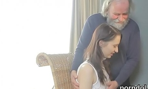 Brute college girl gets teased and shagged by her older tutor