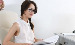 She's Nerdy - Nerdy secretary Michelle Can DPed at work