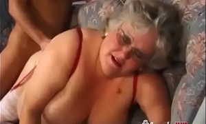 Huge Tits BBW Granny In Stockings Fucks A Youthful Person