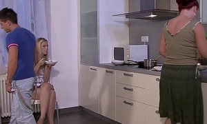 Mother licks and fucks his blonde gf