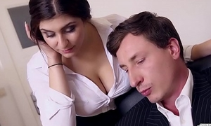 BUMS BUERO - Chief honcho fucks busty German secretary added to cums on her chubby tits