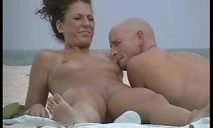 Very unpredictable intensify milf ill feeling pair in nude beach