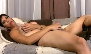 Agile video of Hardcore masturbating shemale not far from round boobs