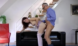 Young british babe pounded by undesigned daddy