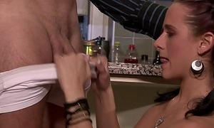 Cheating wife loves sucking with an increment of railing another cock
