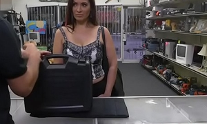 Latina MILF Sophie Leon sucks cock in the pawnshop