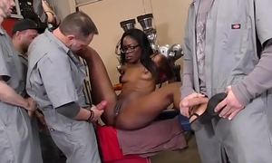 Black babe gets bukkaked