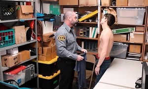 Twink Caught Con job Fucked By Bear Security Guard