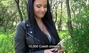 Public Substitute Sticky facial for busty sexy Czech teen under straighten bridge